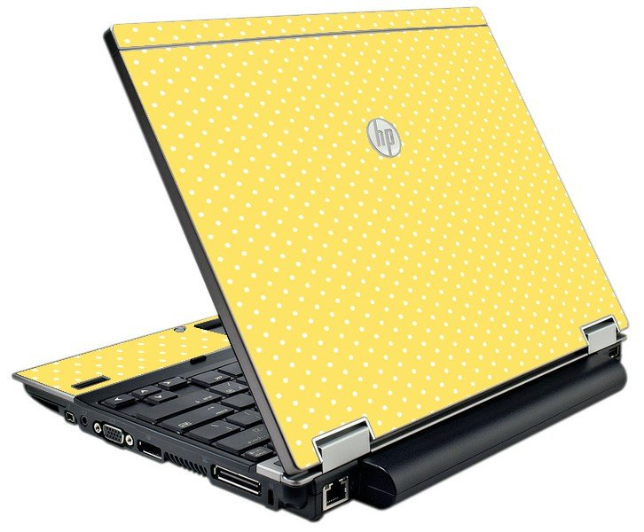 Yellow Polka Dot HP EliteBook 2540P Laptop Skin