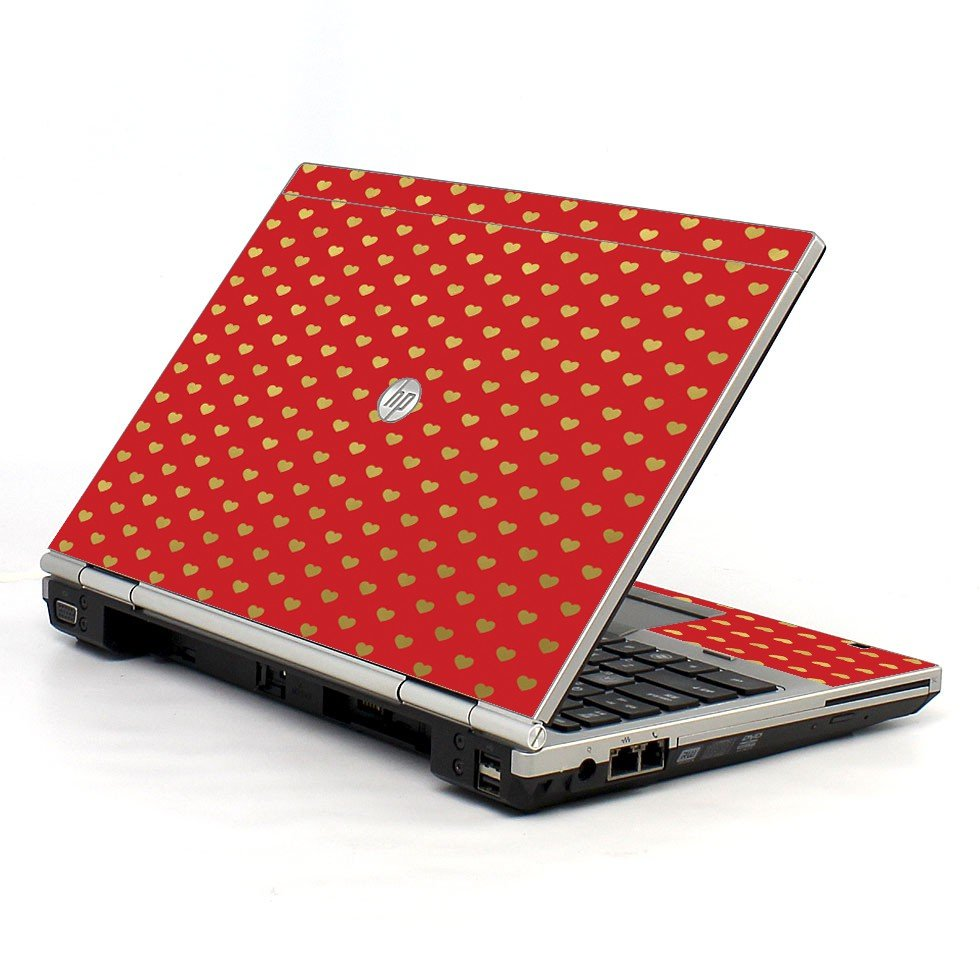 Red Gold Hearts HP EliteBook 2560P Laptop Skin