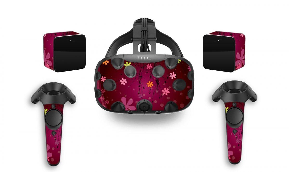 RETRO PINK FLOWERS HTC VIVE VR SKIN