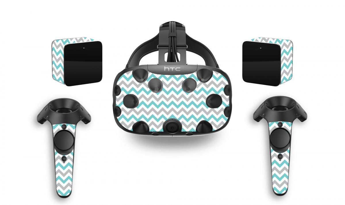 TEAL GREY CHEVRON HTC VIVE VR SKIN