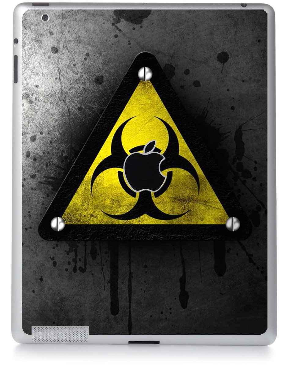 BLACK CAUTION Apple iPad 2 A1395 SKIN