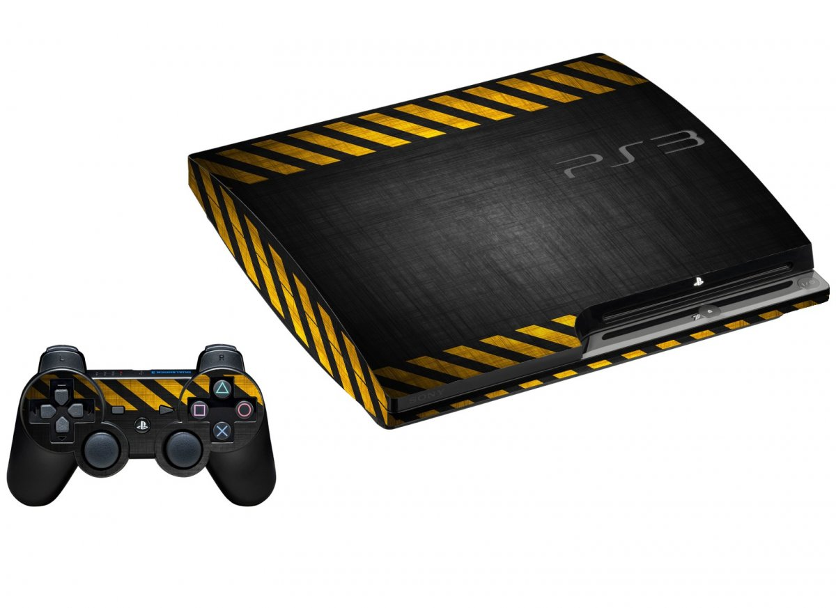 BLACK CAUTION BORDER PLAYSTATION 3 GAME CONSOLE SKIN
