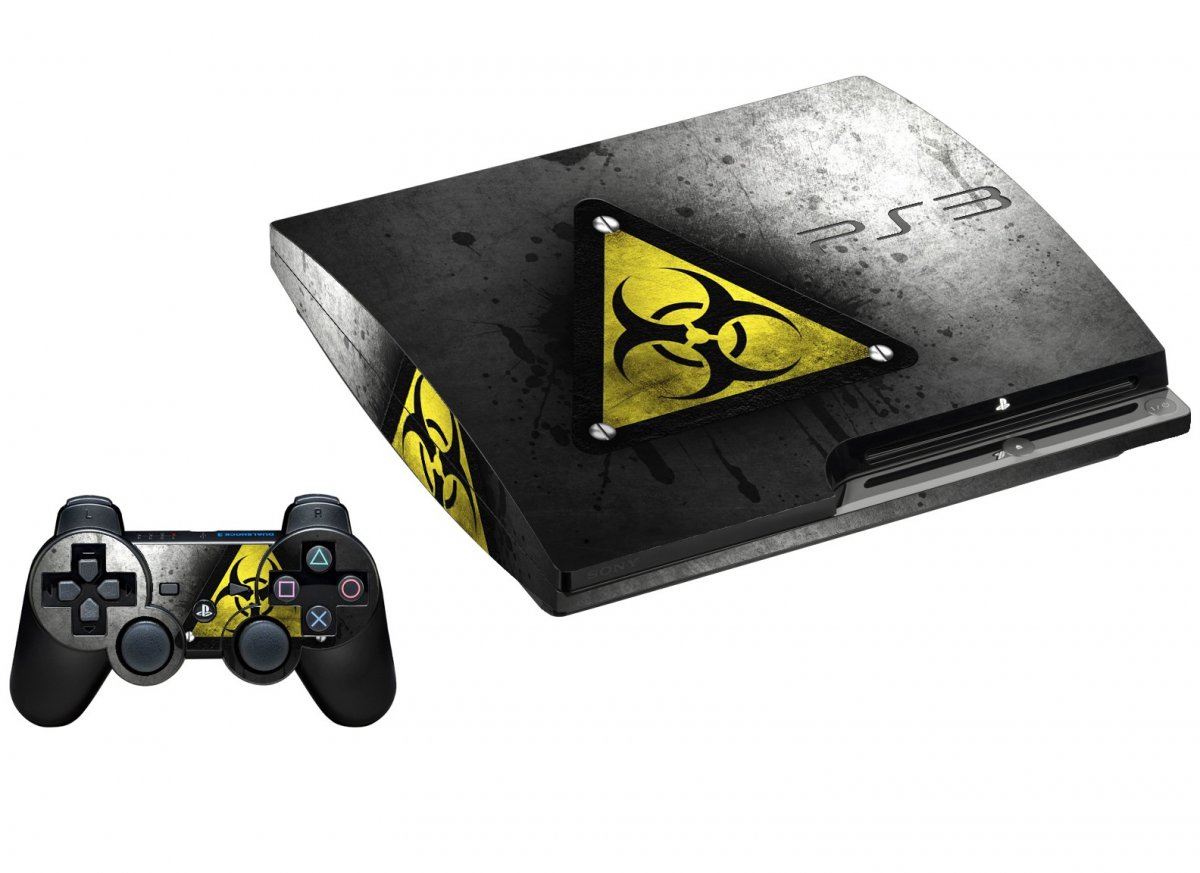 BLACK CAUTION PLAYSTATION 3 GAME CONSOLE SKIN