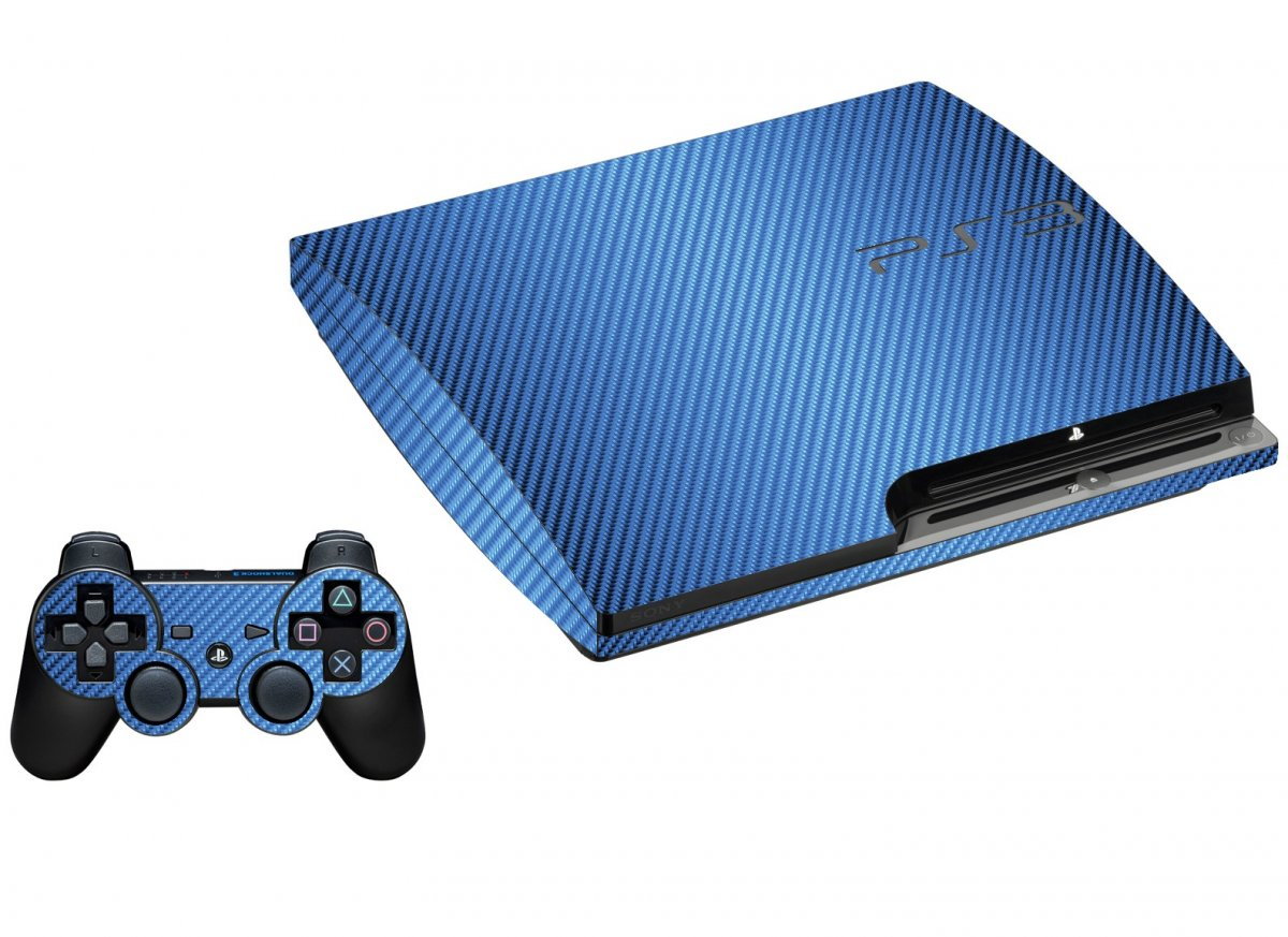 BLUE TEXTURED CARBON FIBER PLAYSTATION 3 GAME CONSOLE SKIN