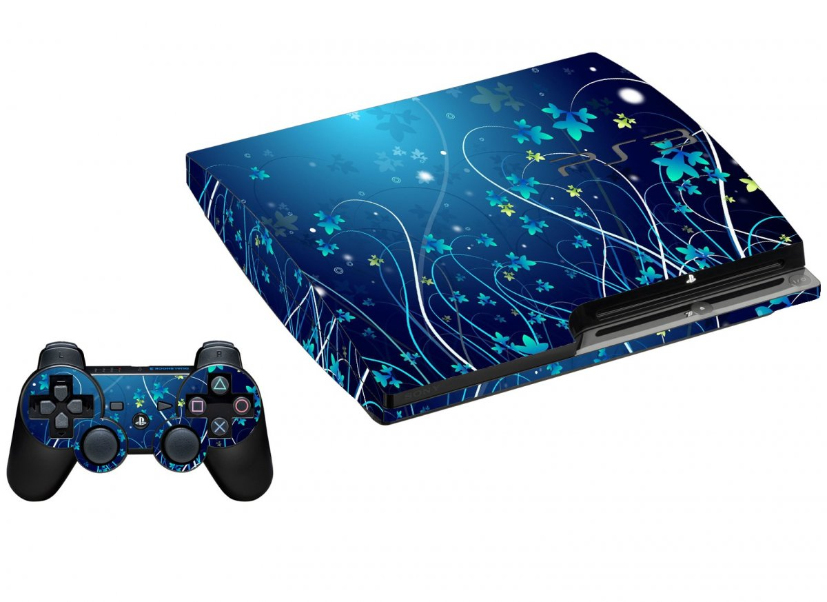 BLUE FLOWER PLAYSTATION 3 GAME CONSOLE SKIN