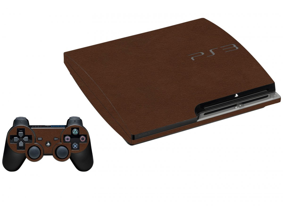 BROWN LEATHER PLAYSTATION 3 GAME CONSOLE SKIN