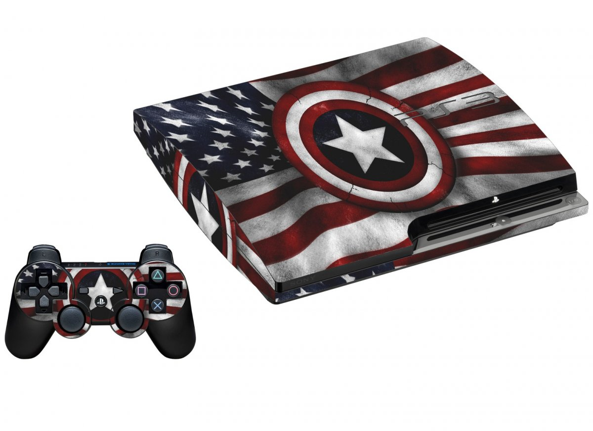 CAPTAIN AMERICA FLAG PLAYSTATION 3 GAME CONSOLE SKIN