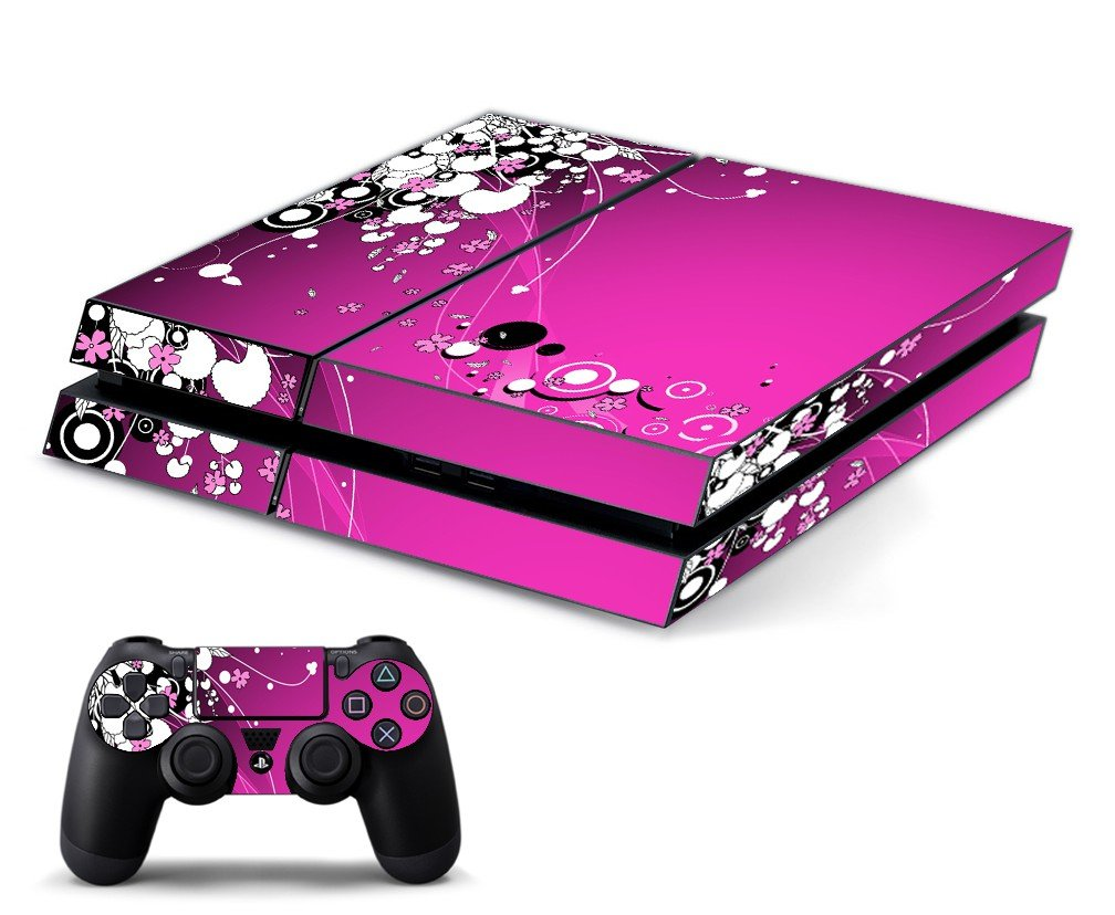 PINK FLOWERS PLAYSTATION 4 GAME CONSOLE SKIN
