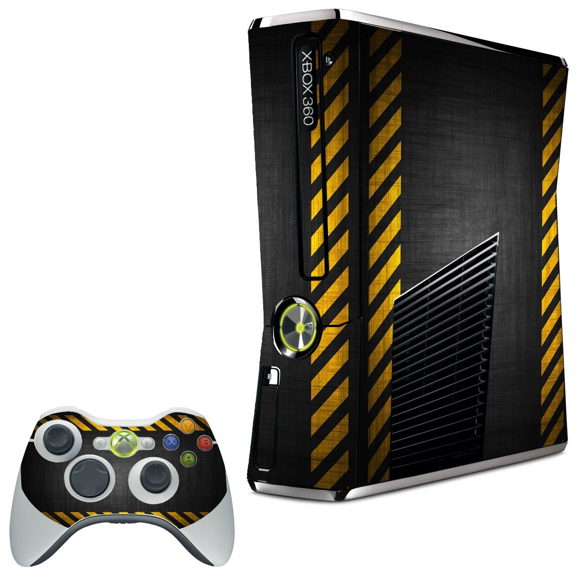 BLACK CAUTION BORDER XBOX 360 SLIM GAME CONSOLE SKIN