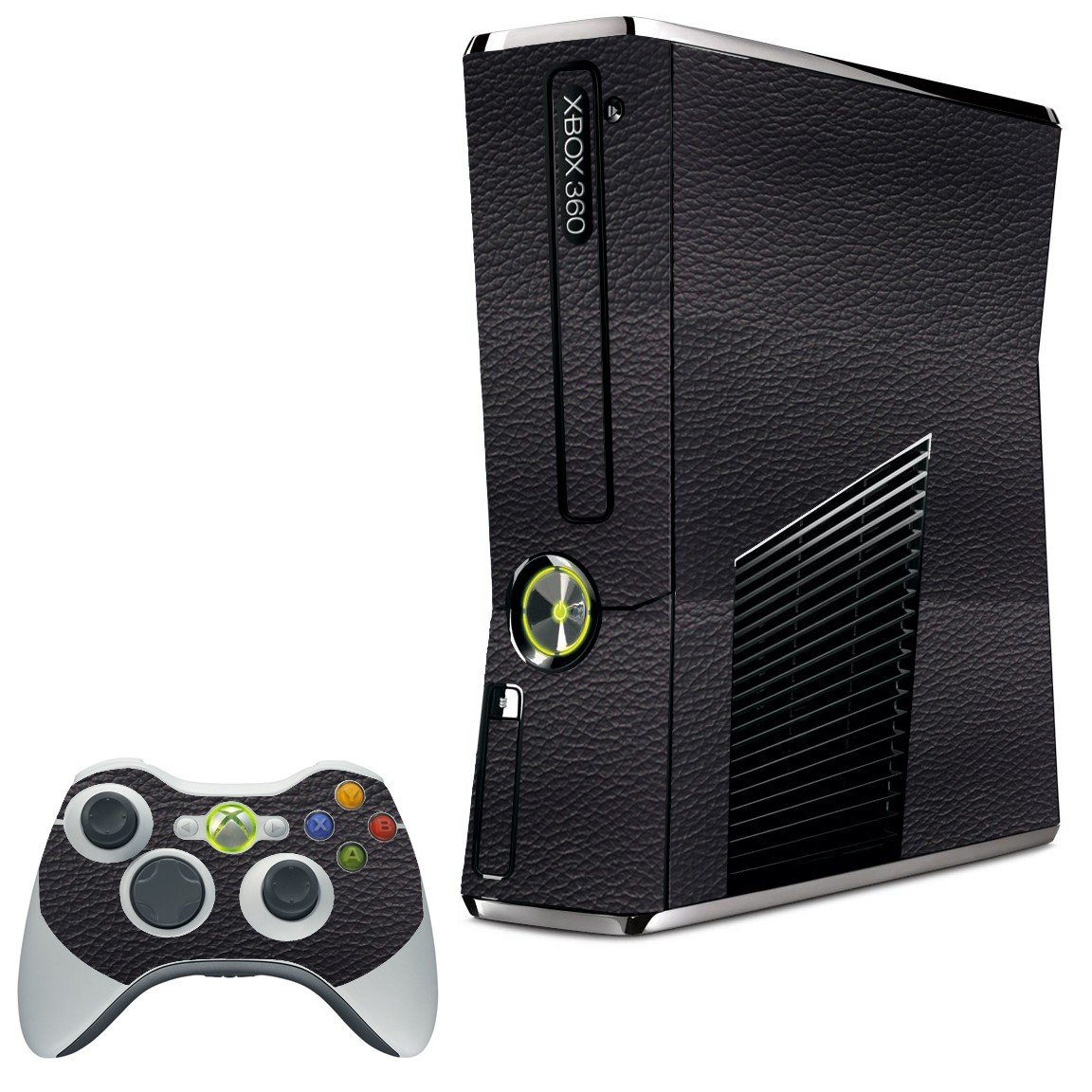 BLACK LEATHER XBOX 360 SLIM GAME CONSOLE SKIN