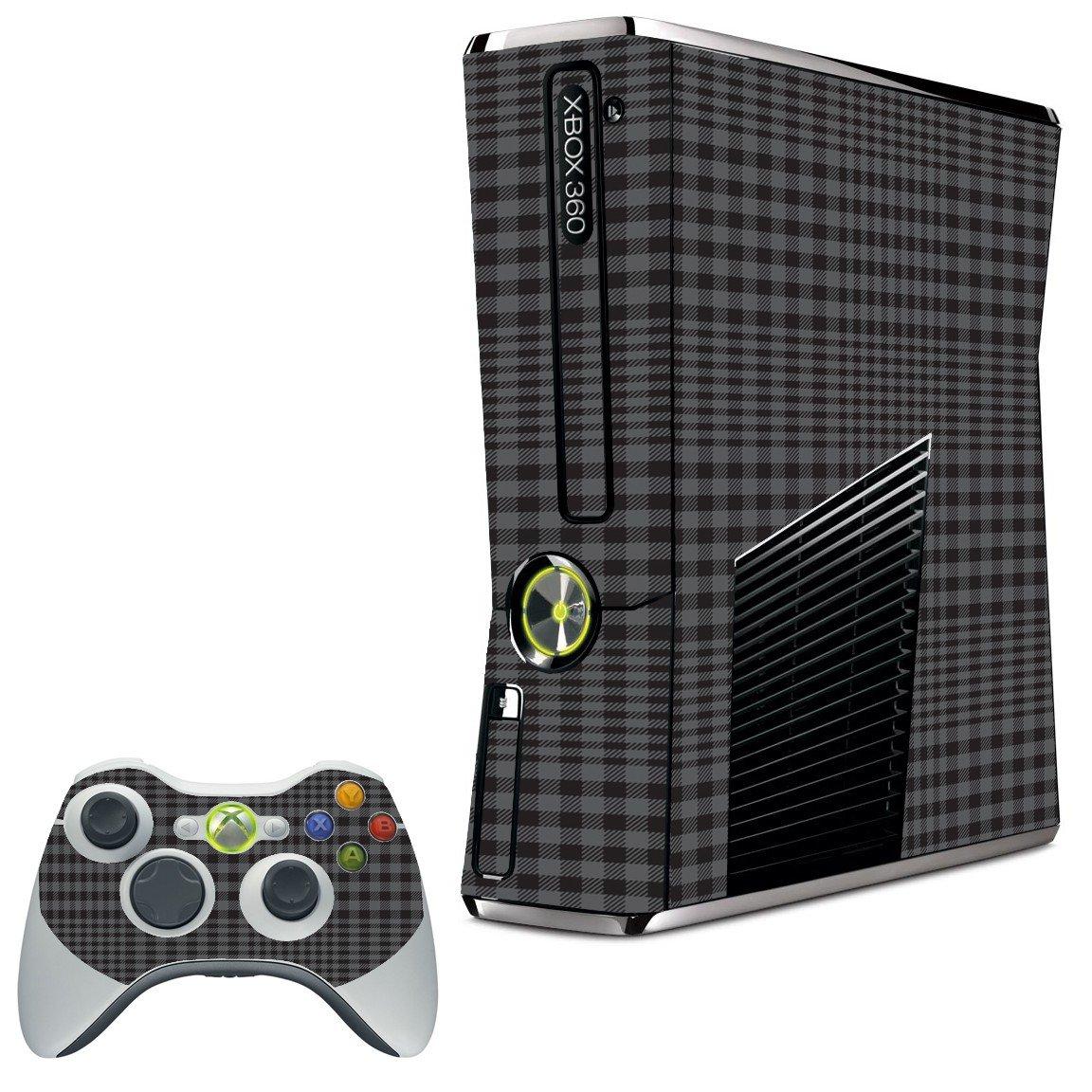 BLACK PLAID XBOX 360 SLIM GAME CONSOLE SKIN
