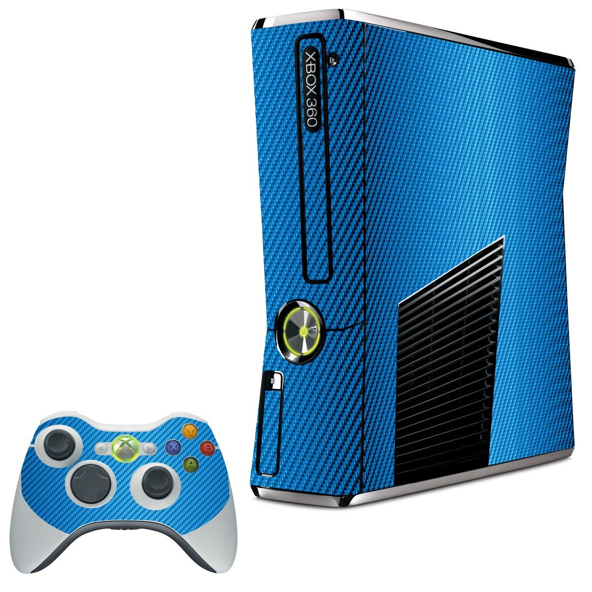 BLUE TEXTURED CARBON FIBER XBOX 360 SLIM GAME CONSOLE SKIN
