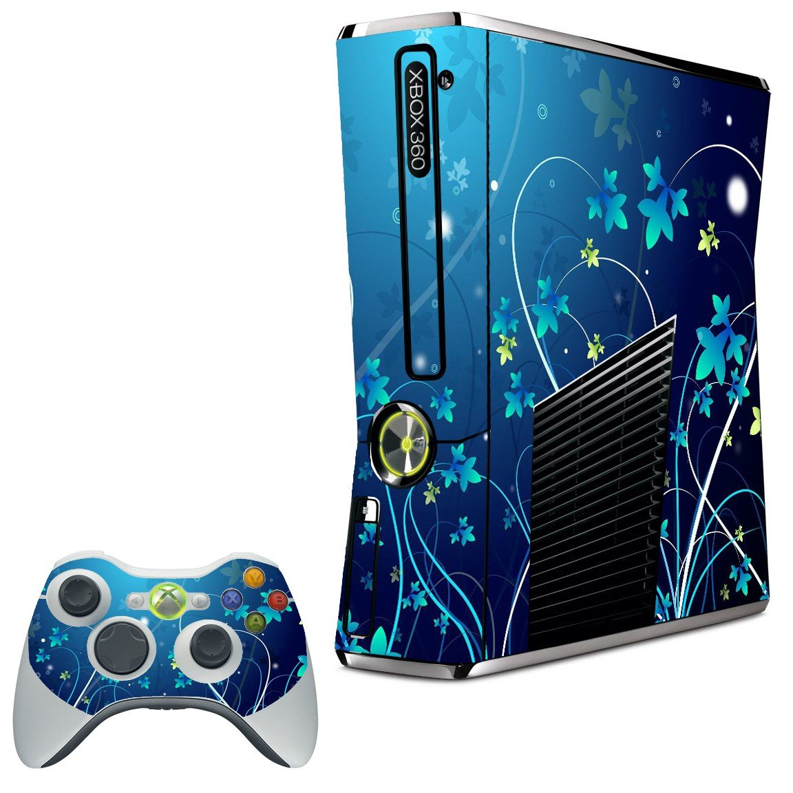 BLUE FLOWER XBOX 360 SLIM GAME CONSOLE SKIN