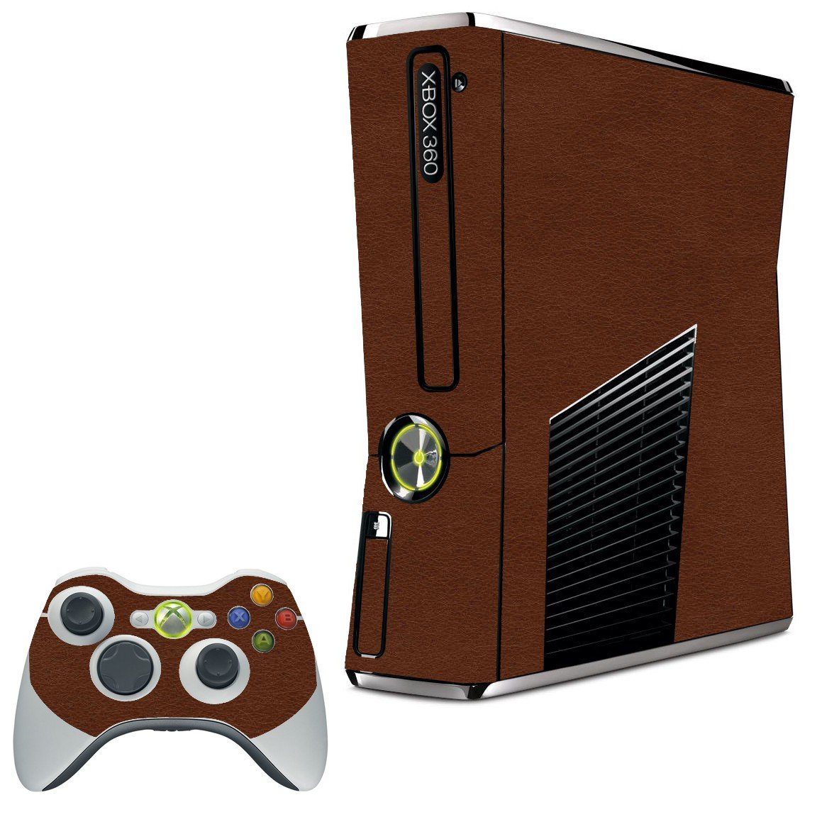 BROWN LEATHER XBOX 360 SLIM GAME CONSOLE SKIN