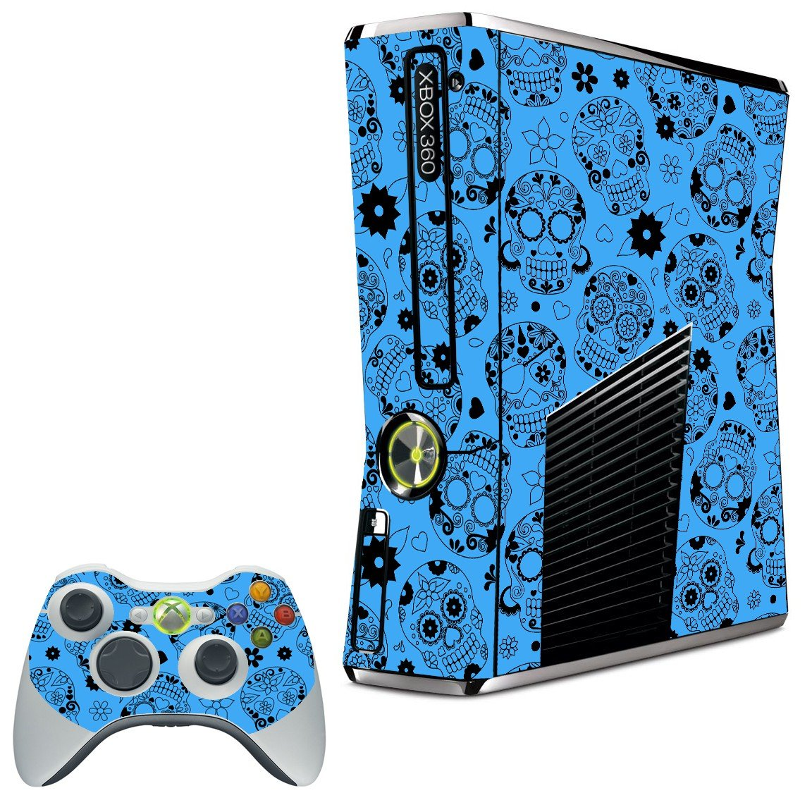 CRAZY BLUE SUGAR SKULLS XBOX 360 SLIM GAME CONSOLE SKIN