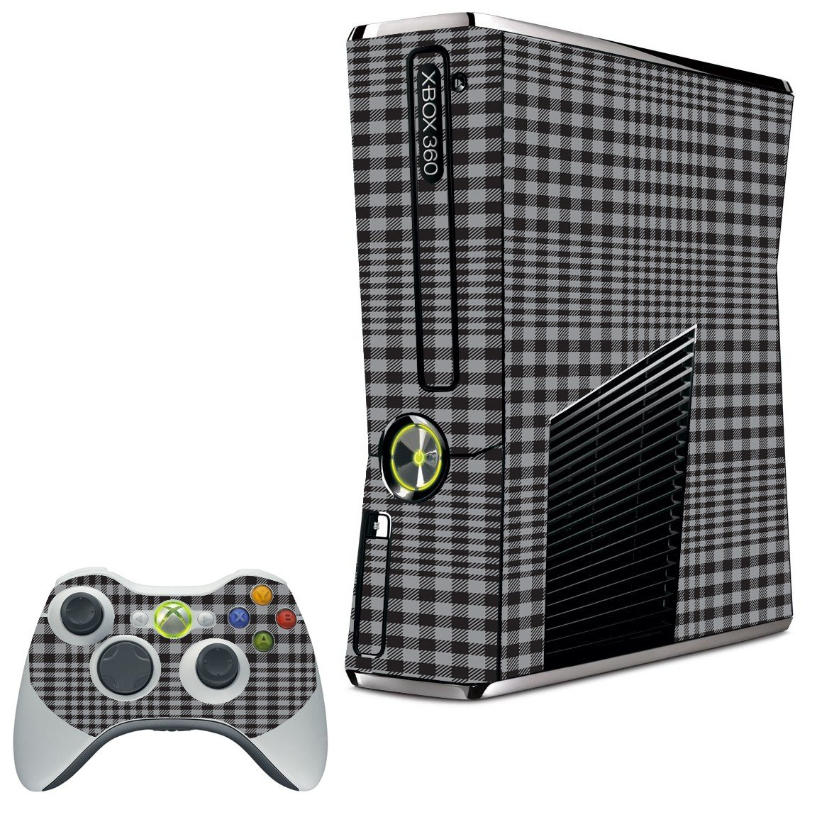 DARKEST GREY PLAID XBOX 360 SLIM GAME CONSOLE SKIN