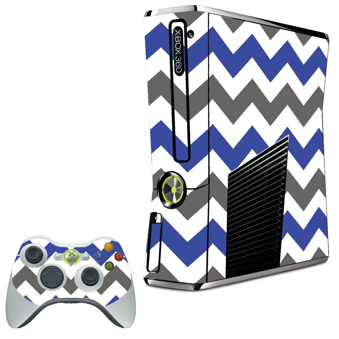 GREY BLUE CHEVRON XBOX 360 SLIM GAME CONSOLE SKIN