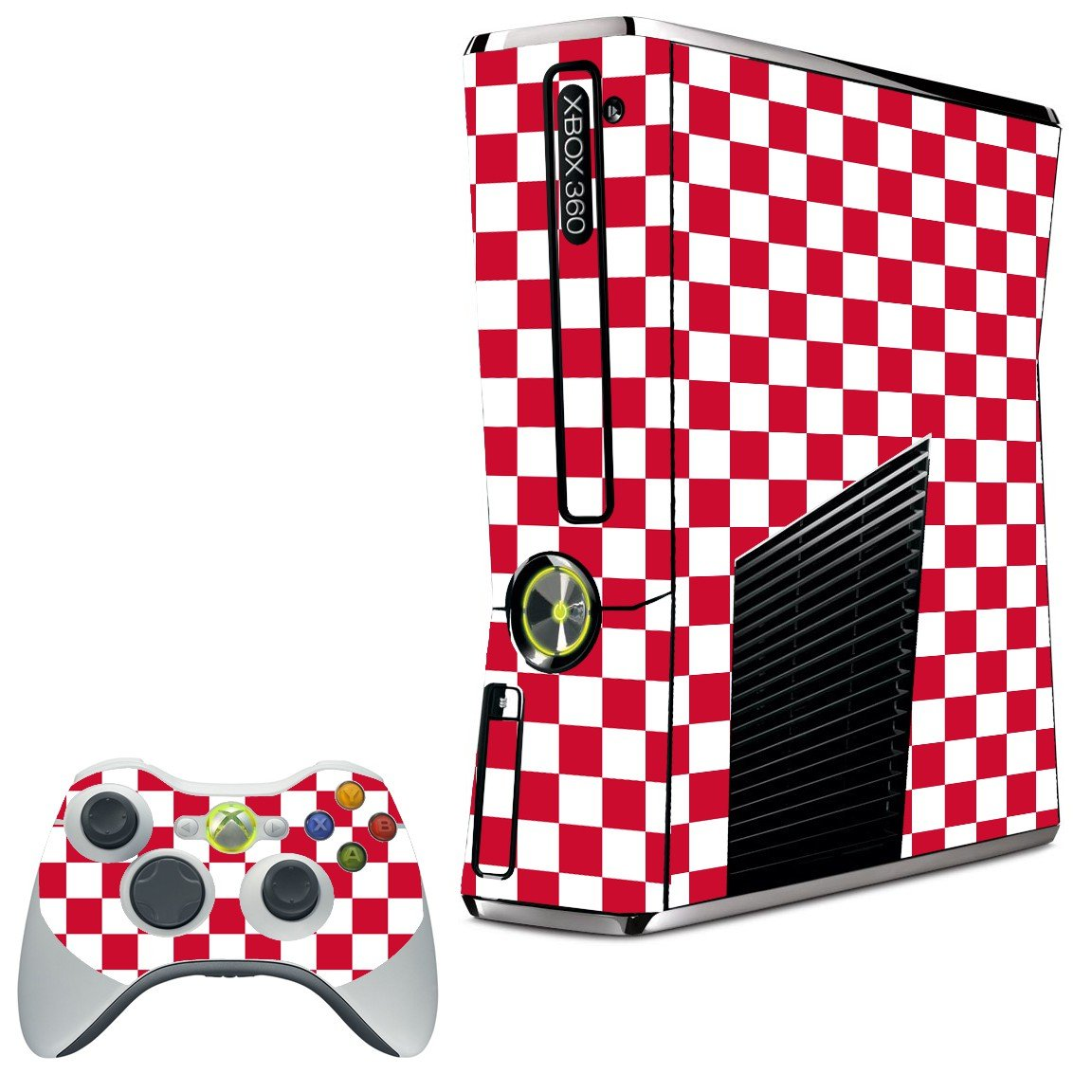 RED CHECKERED XBOX 360 SLIM GAME CONSOLE SKIN