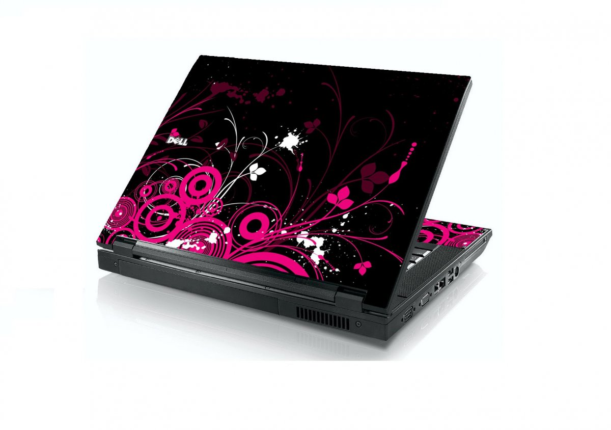 Black Pink Butterfly Dell E5400 Laptop Skin