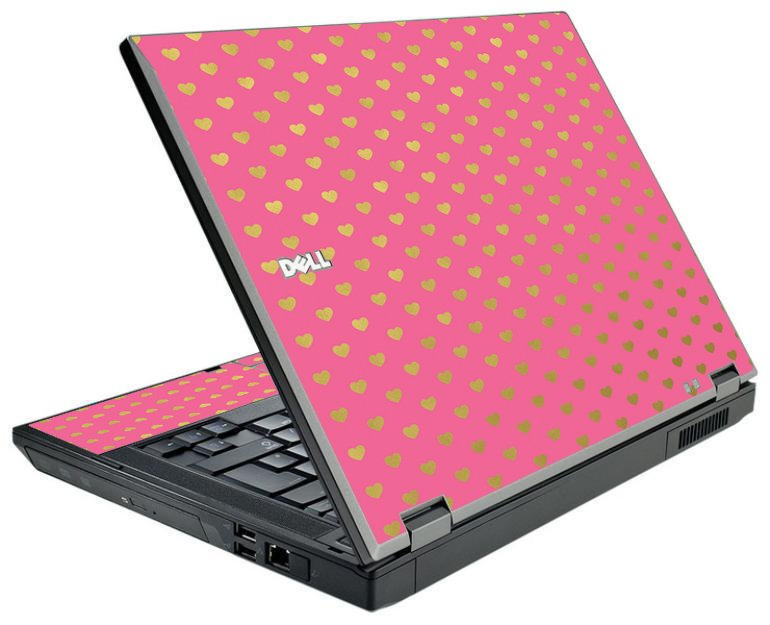 Pink With Gold Hearts Dell E5510 Laptop Skin