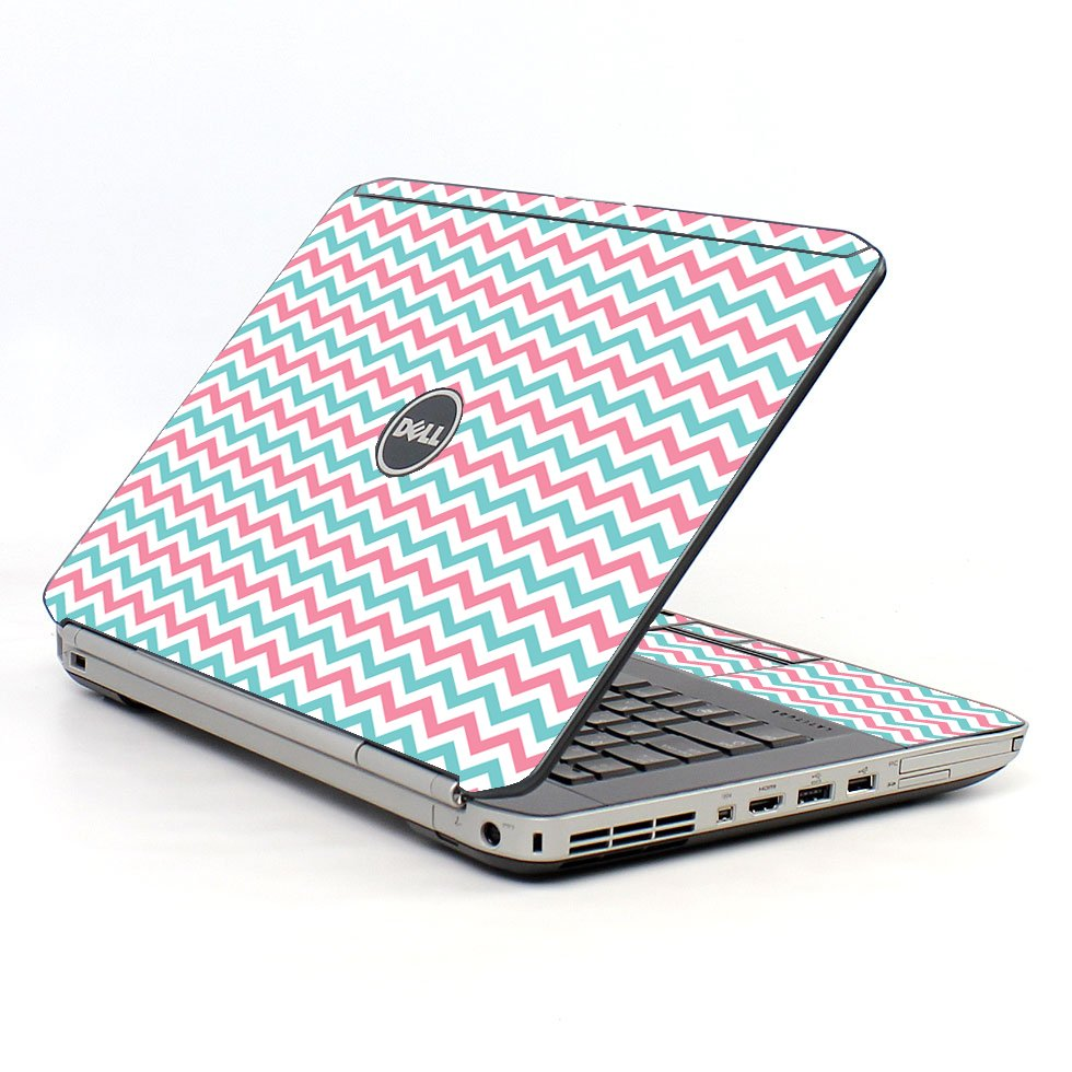 Pink Teal Chevron Waves Dell E5520 Laptop Skin