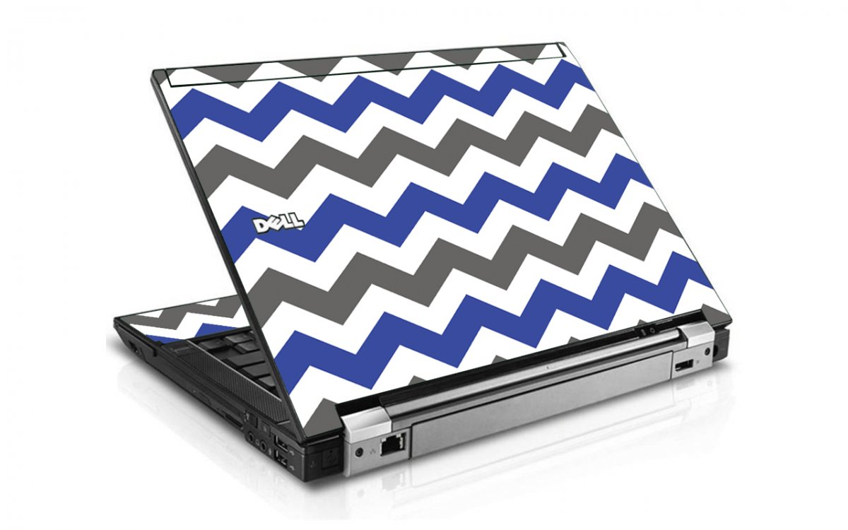 Grey Blue Chevron Dell E6400 Laptop Skin