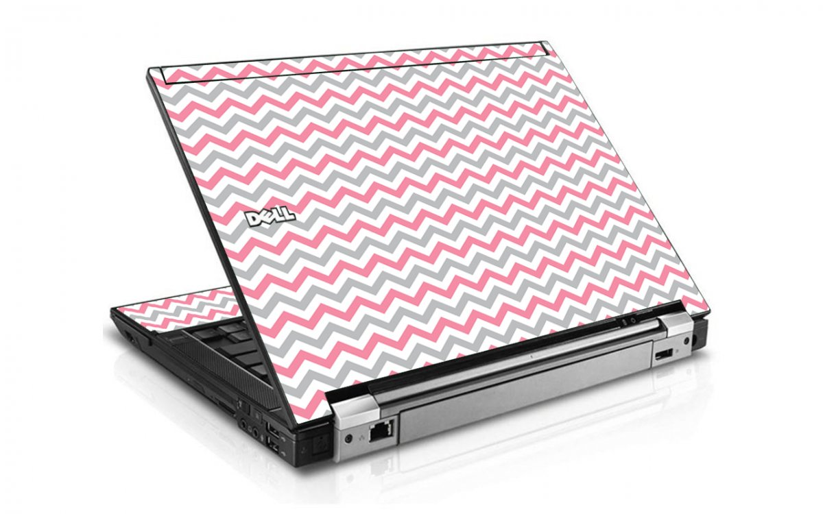 Pink Grey Chevron Waves Dell E6400 Laptop Skin