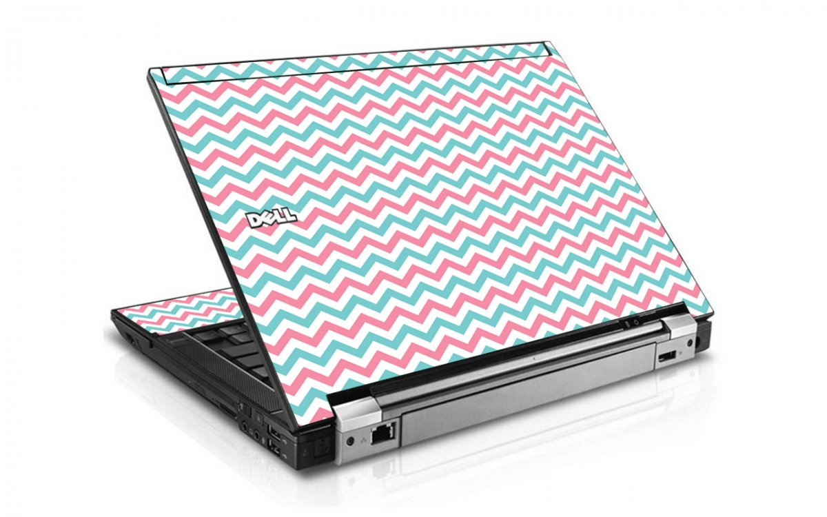 Pink Teal Chevron Waves Dell E6400 Laptop Skin