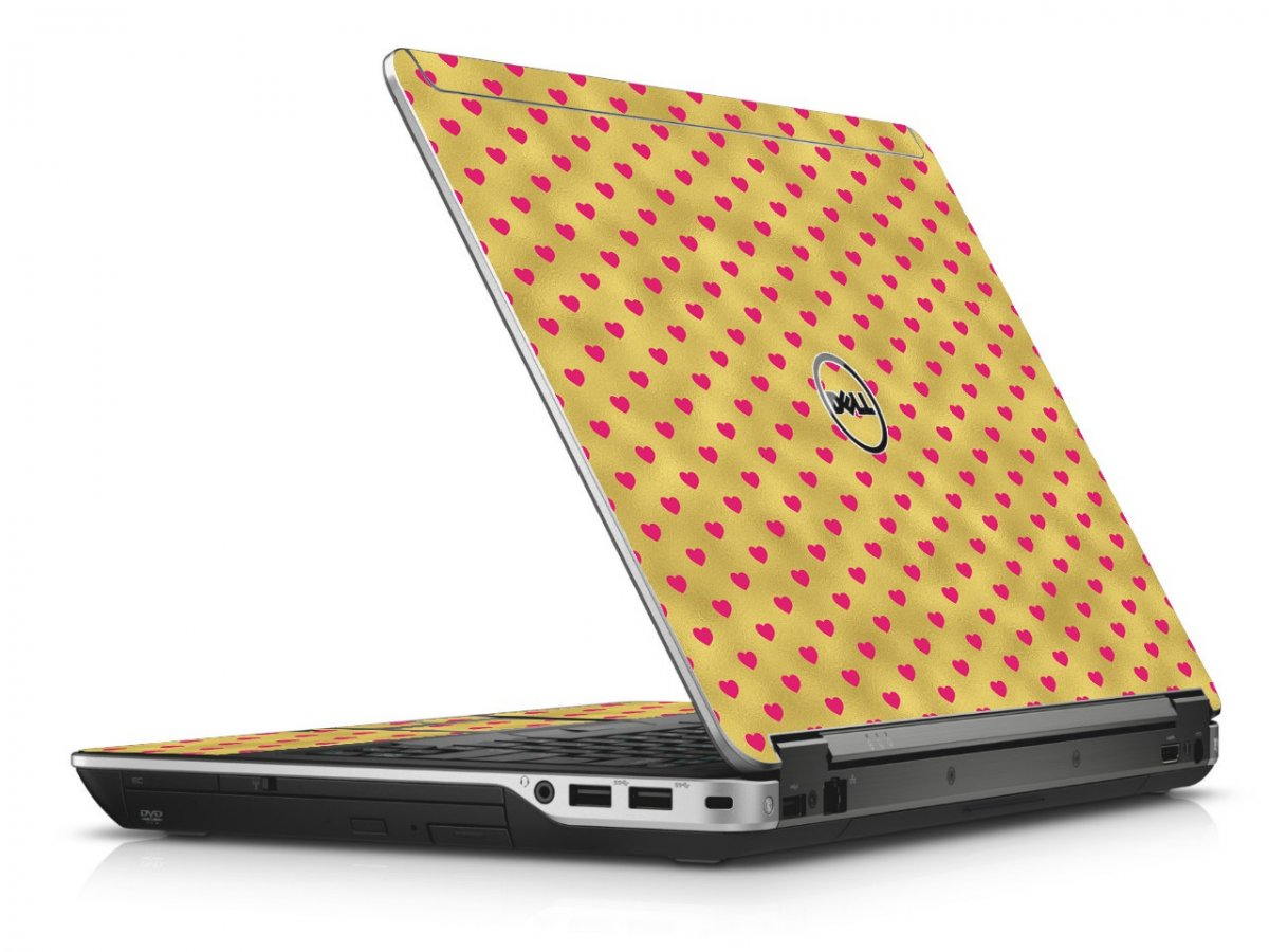 Gold Pink Hearts Dell E6440 Laptop Skin