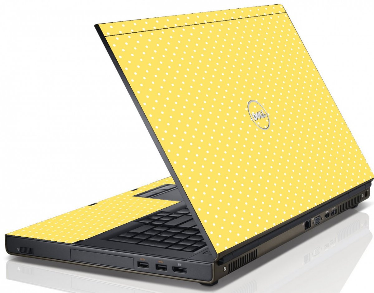 Yellow Polka Dot Dell M4600 Laptop Skin