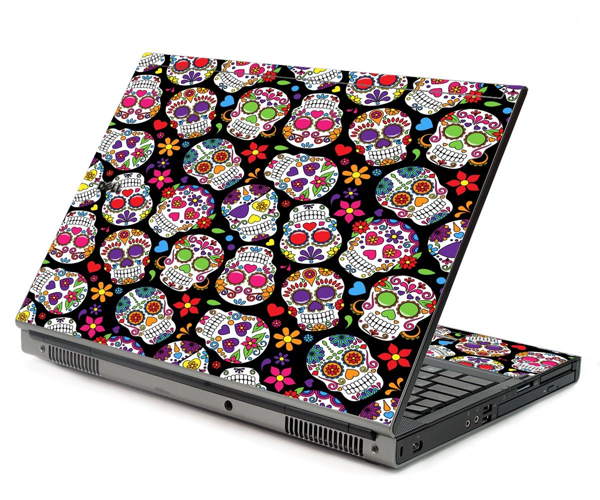 Sugar Skulls Black Flowers Dell M6400 Laptop Skin