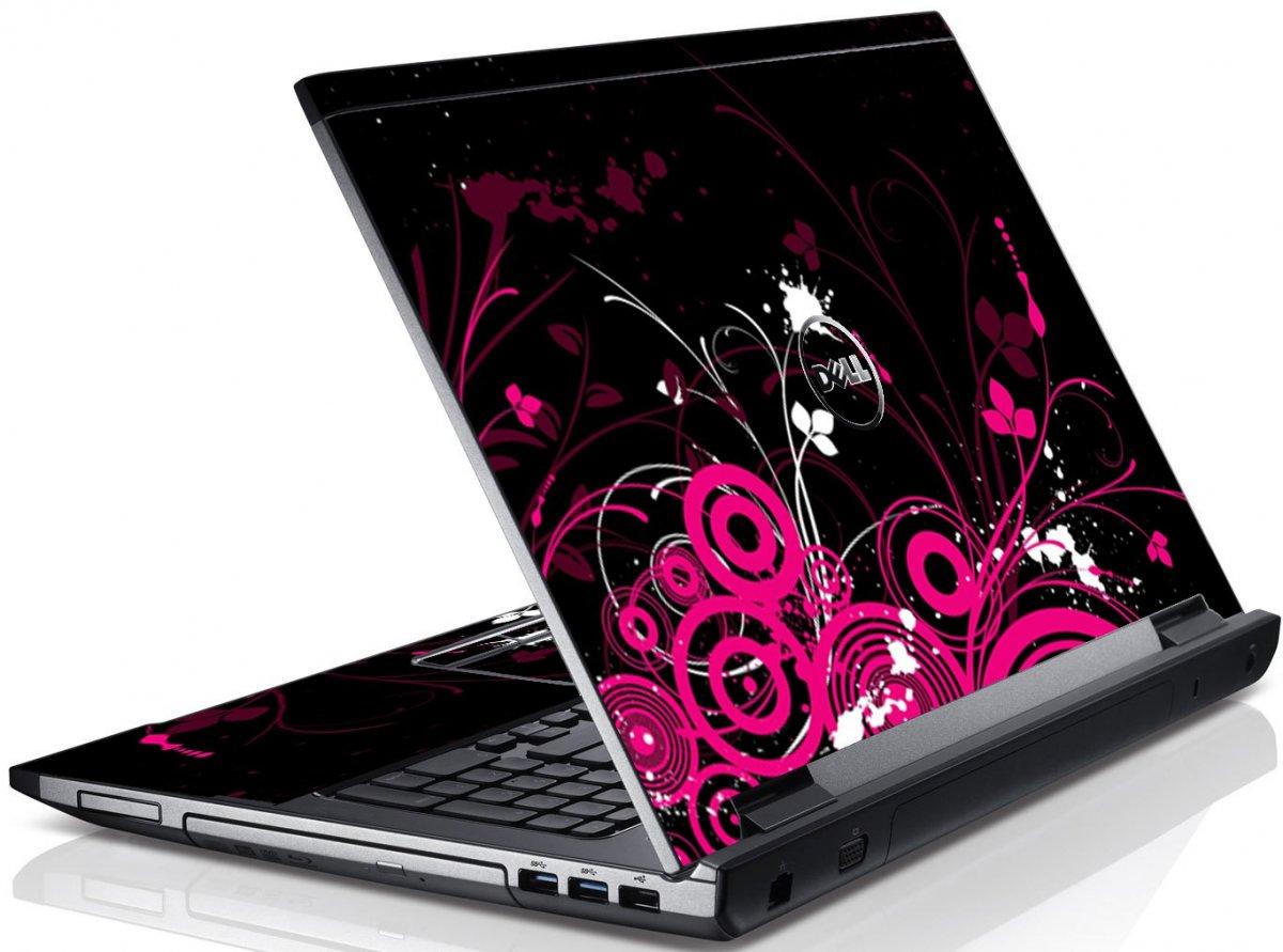 Black Pink Butterfly Dell V3550 Laptop Skin