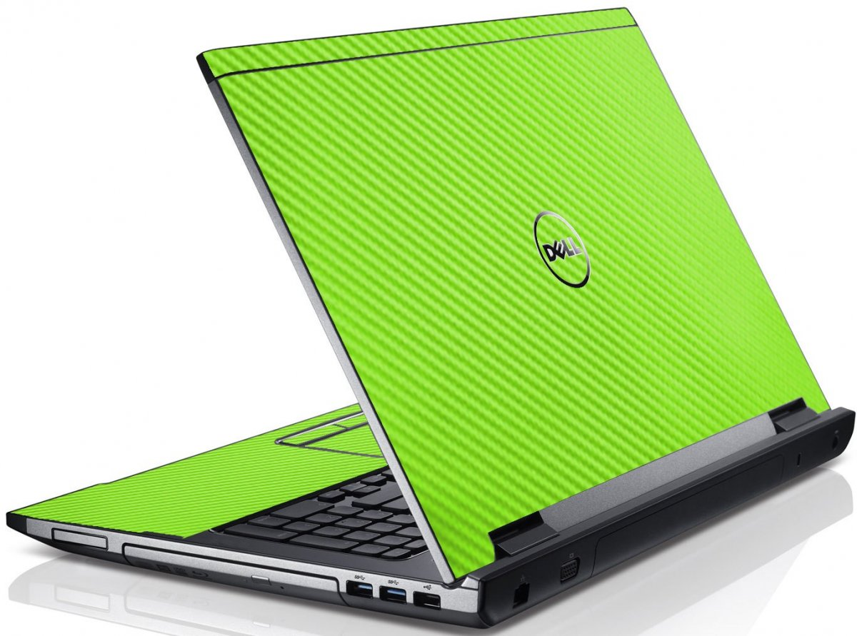 Green Carbon Fiber Dell V3550 Laptop Skin