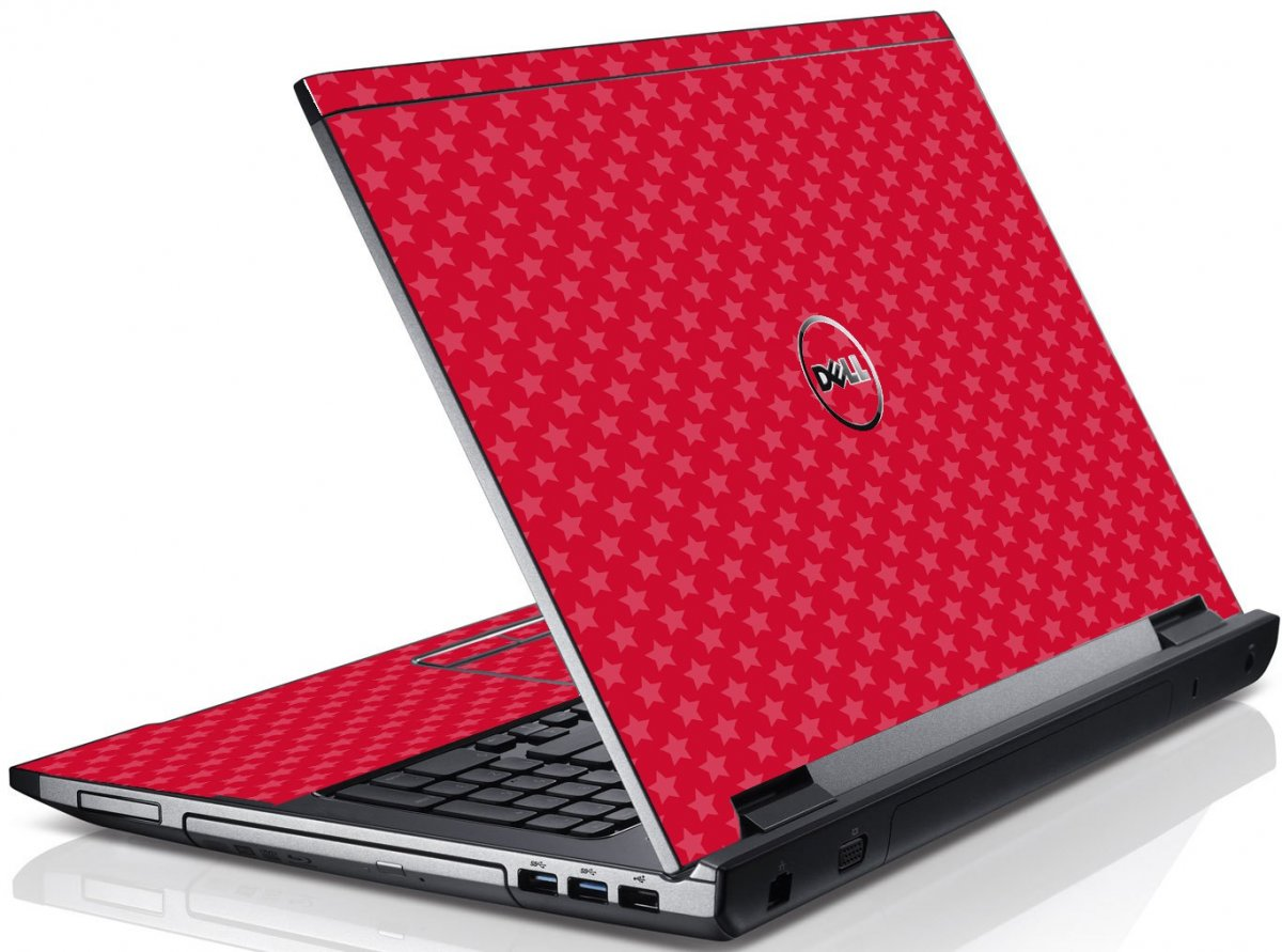 Red Pink Stars Dell V3550 Laptop Skin