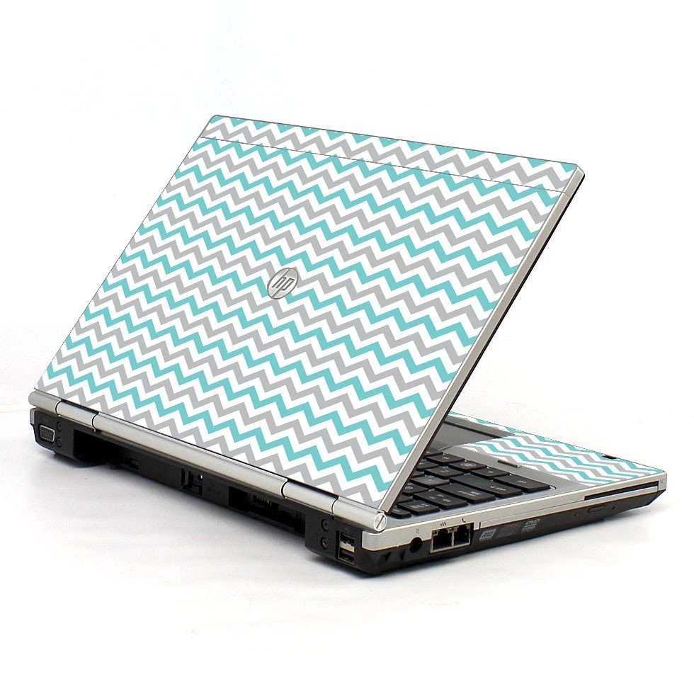 Teal Grey Chevron Waves HP EliteBook 2560P Laptop Skin