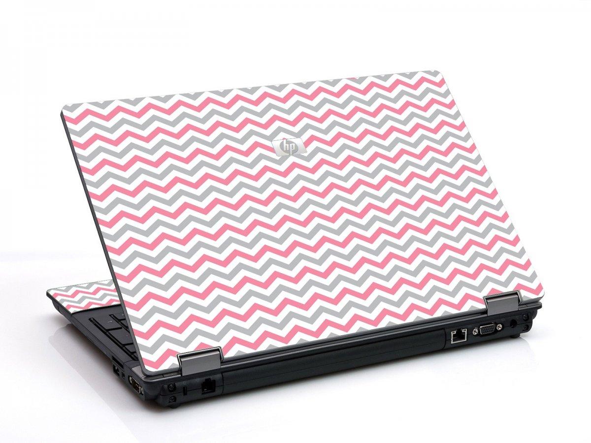 Pink Grey Chevron Waves 6530B Laptop Skin