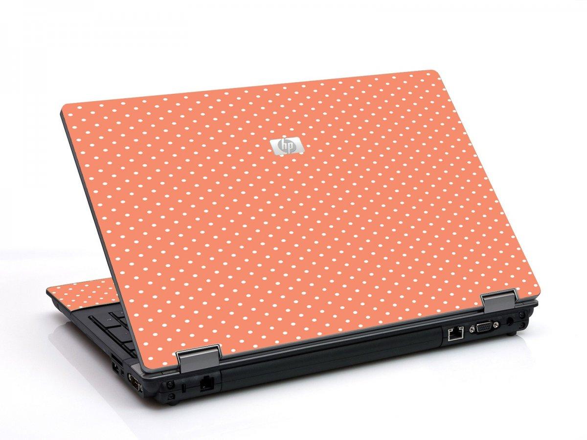 Coral Polka Dots 6550B Laptop Skin
