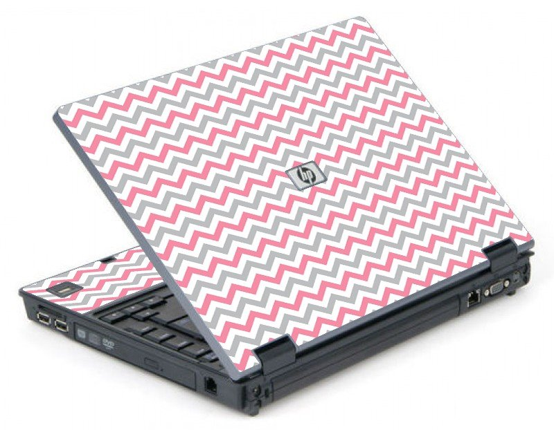 Pink Grey Chevron Waves 6710B Laptop Skin