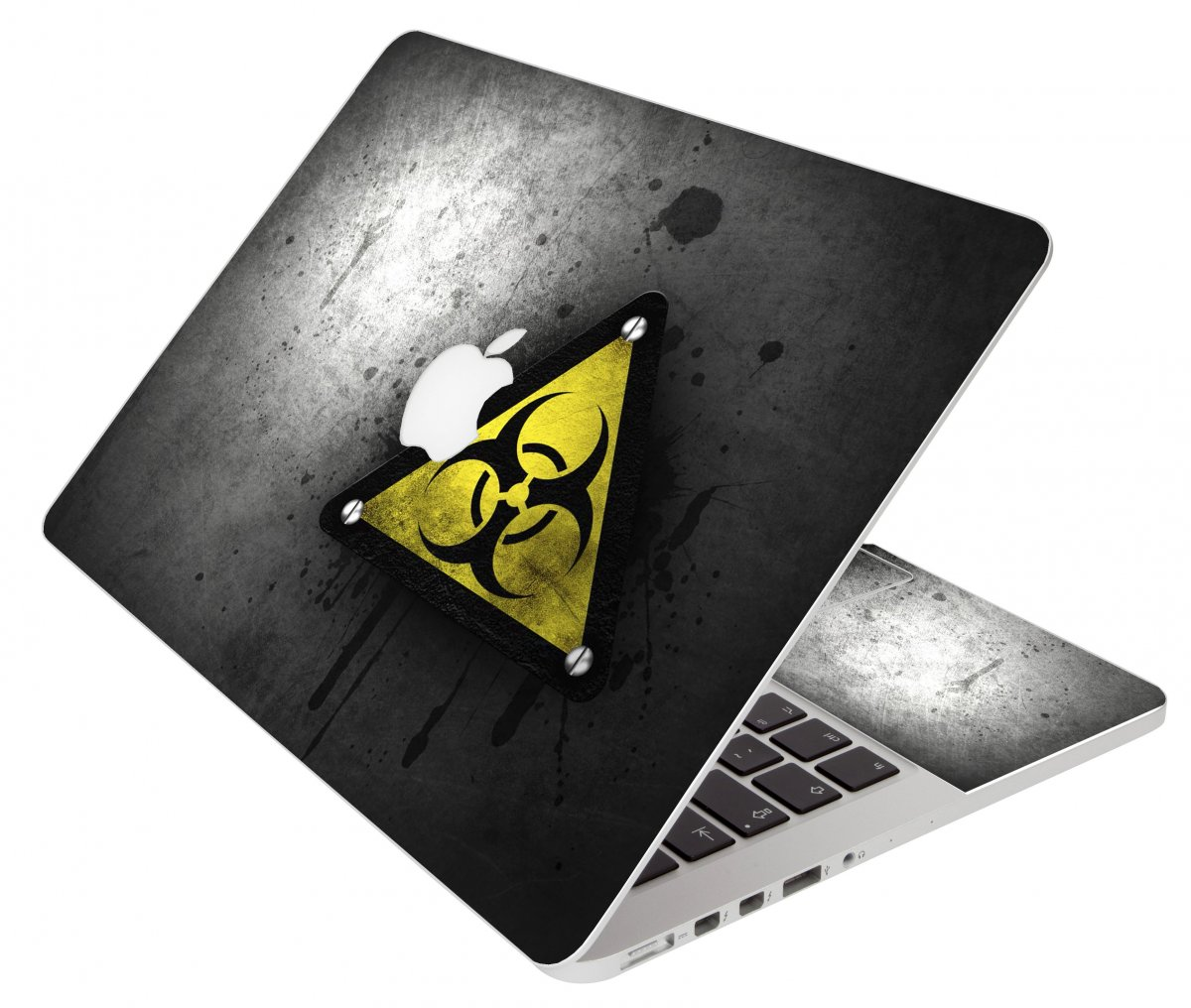 Black Caution Apple Macbook Air 11 A1370 Laptop Skin