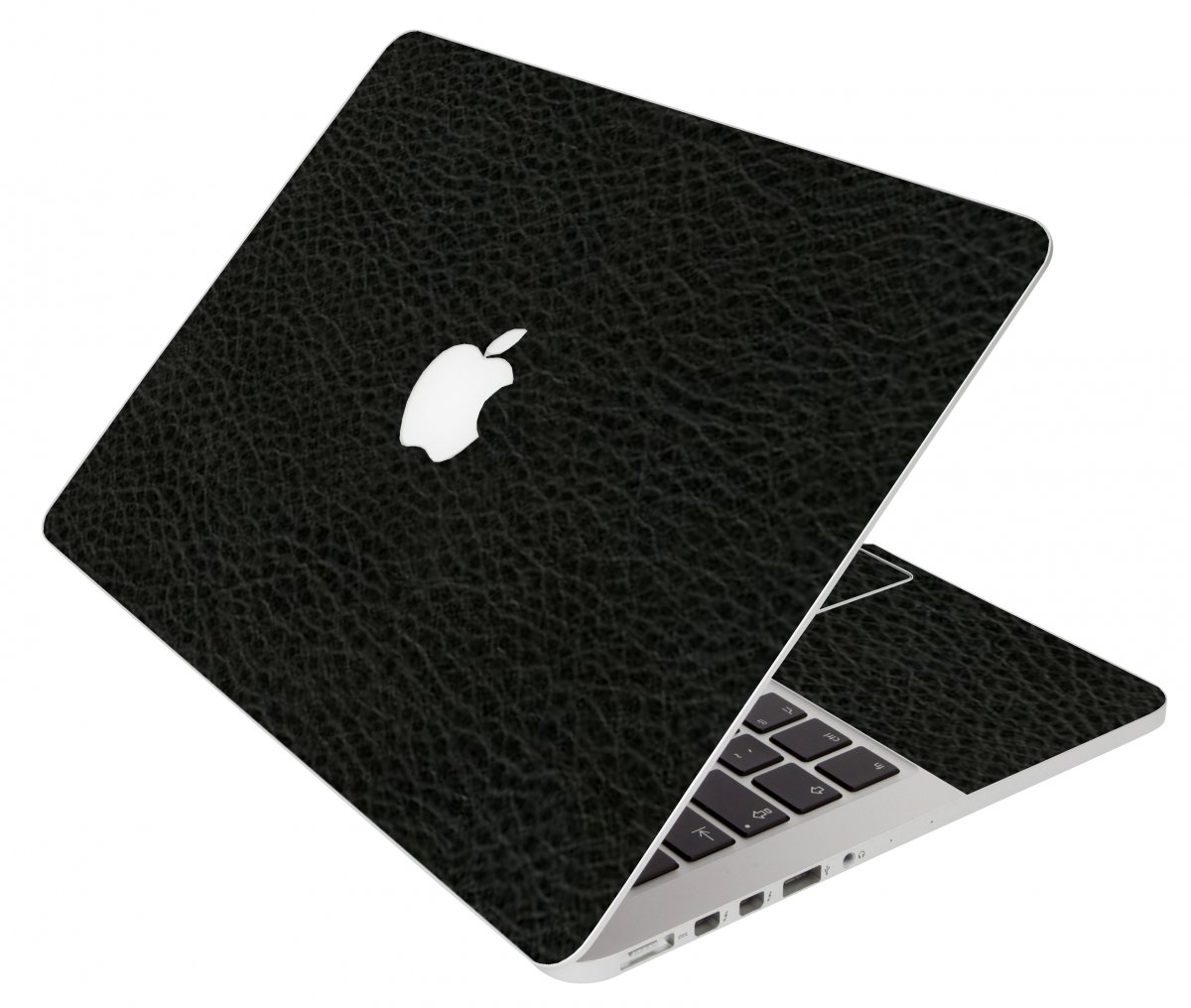 Black Leather Apple Macbook Air 11 A1370 Laptop Skin