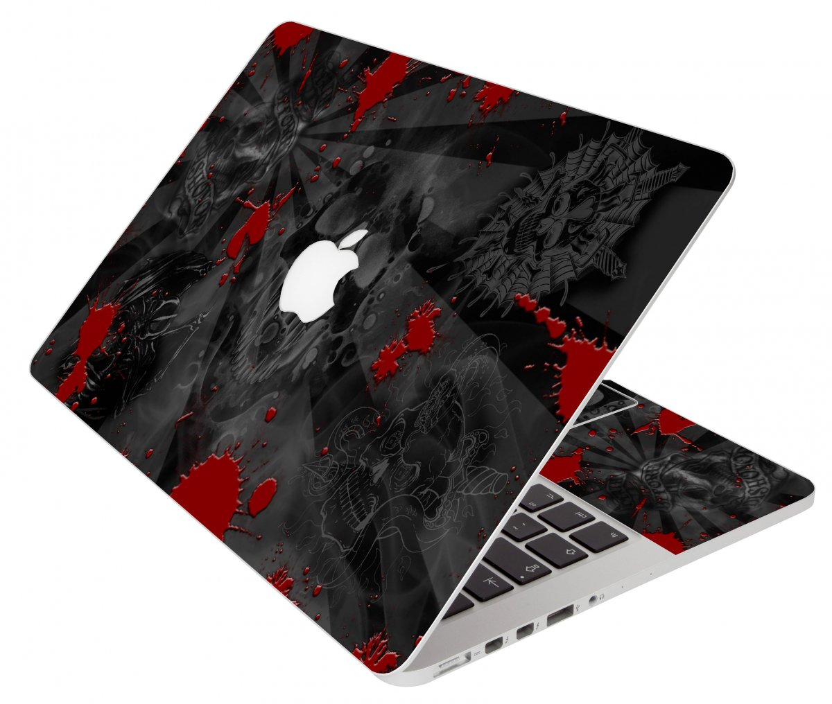 Black Skull Red Apple Macbook Air 11 A1370 Laptop Skin