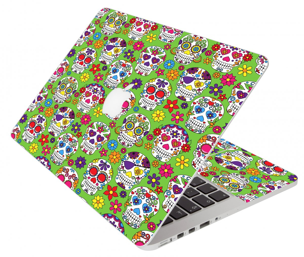 Green Sugar Skulls Apple Macbook Air 11 A1370 Laptop Skin