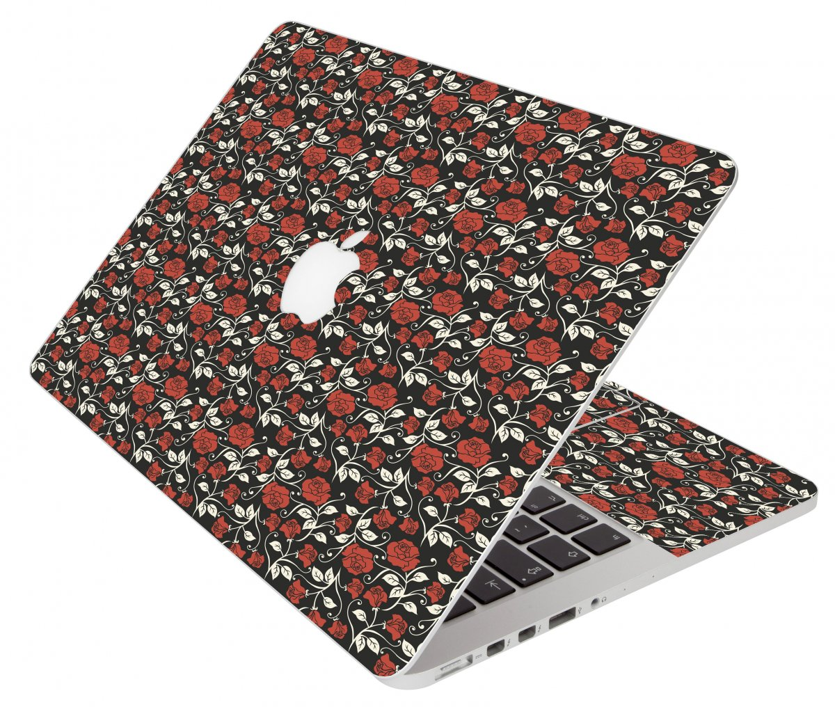 Black Red Roses Apple Macbook Original 13 A1181 Laptop Skin