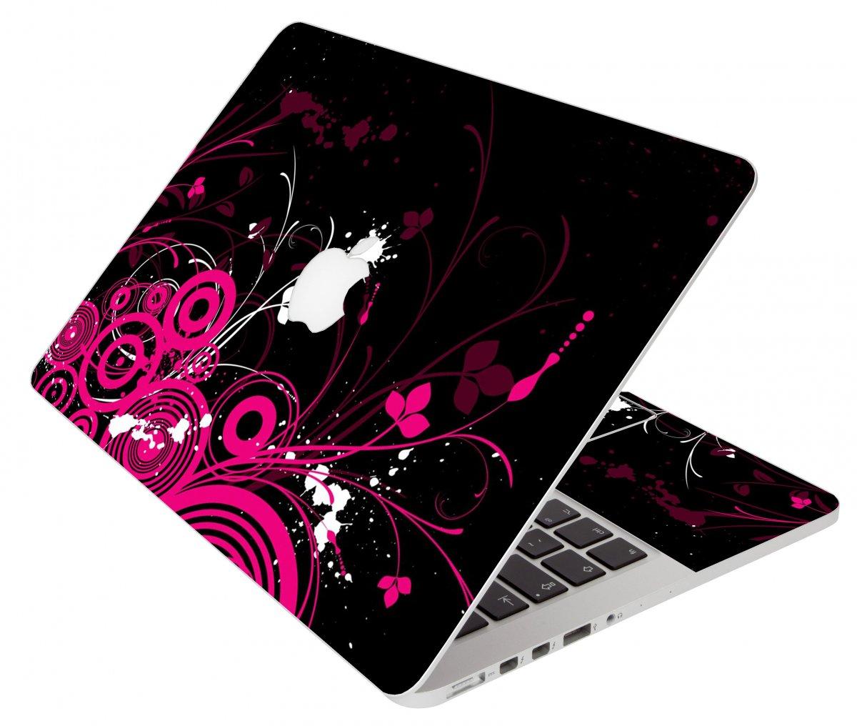 Black Pink Butterfly Apple Macbook Pro 17 A1297 Laptop