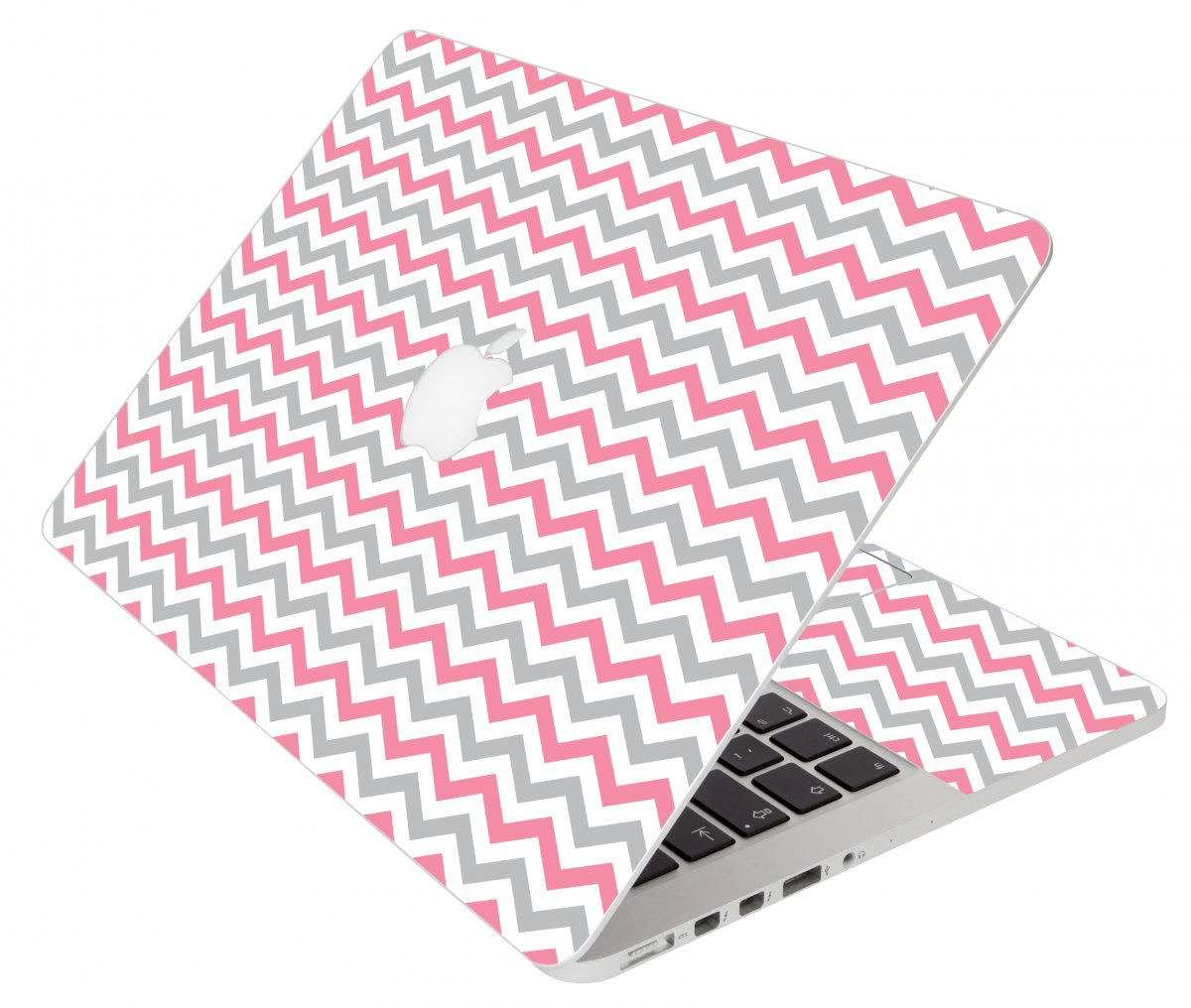 Pink Grey Chevron Waves Apple Macbook Pro 17 A1297  Laptop Skin