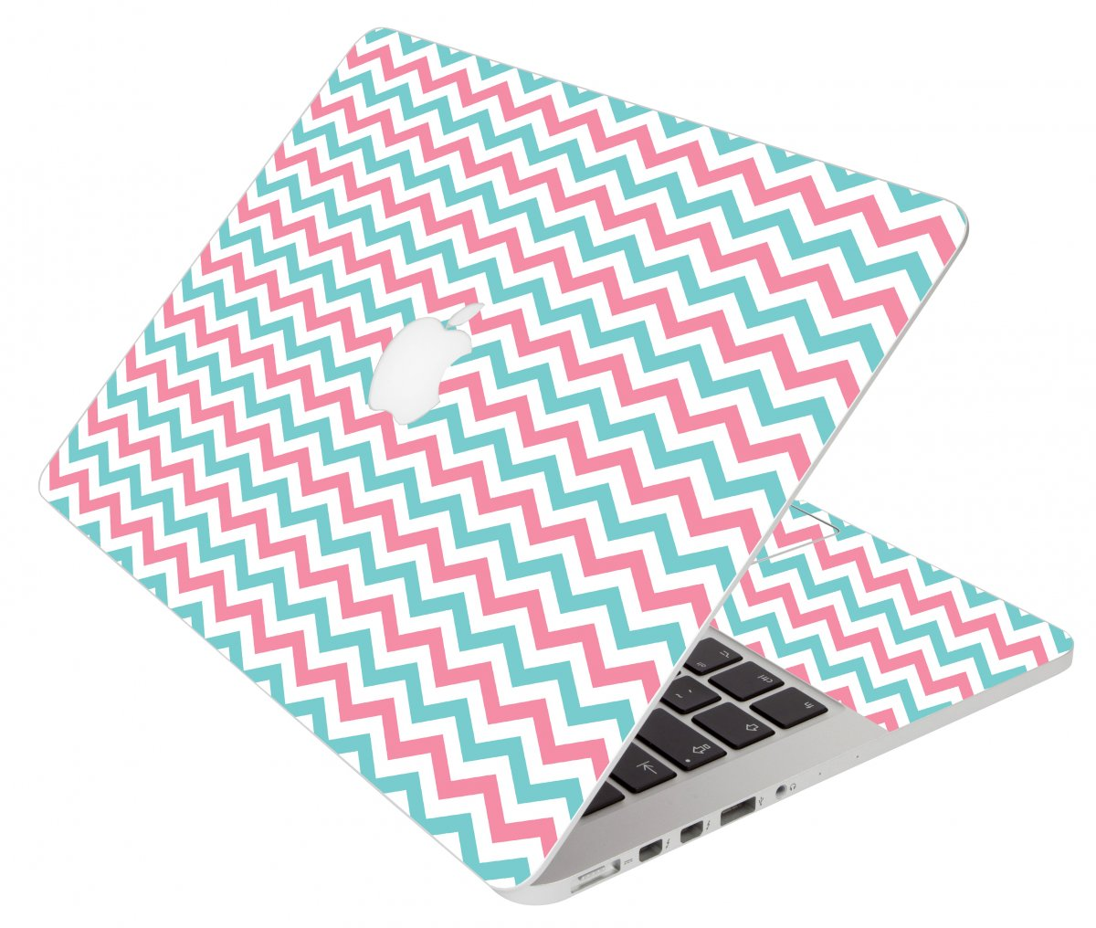 Pink Teal Chevron Waves Apple Macbook Pro 17 A1297  Laptop Skin