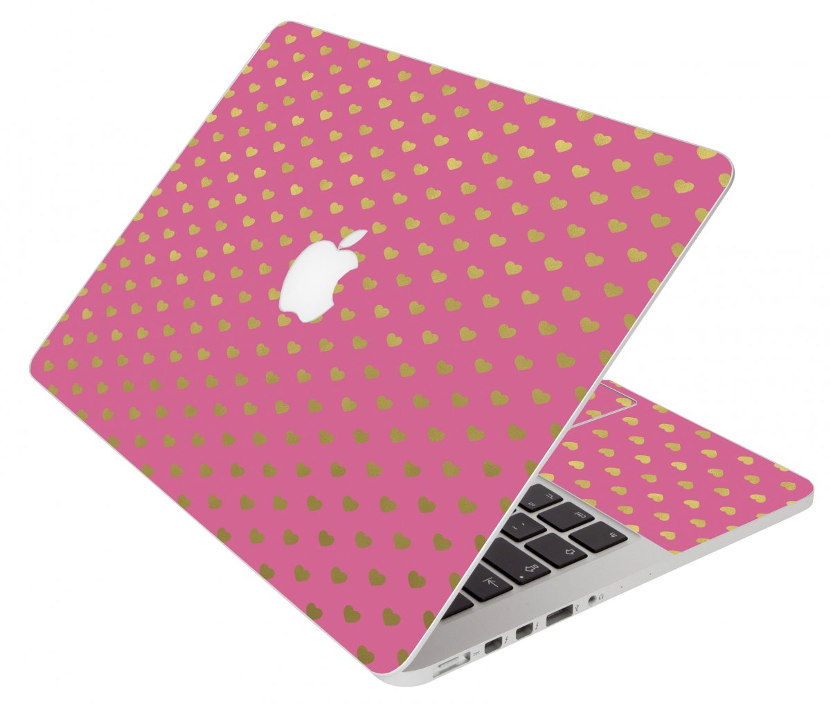 Pink With Gold Hearts Apple Macbook Pro 17 A1297  Laptop Skin