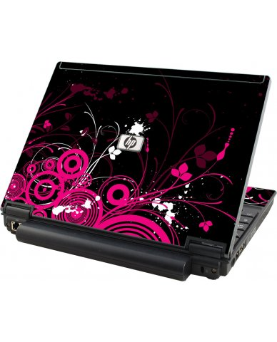Black Pink Butterfly HP Compaq 2510P Laptop Skin