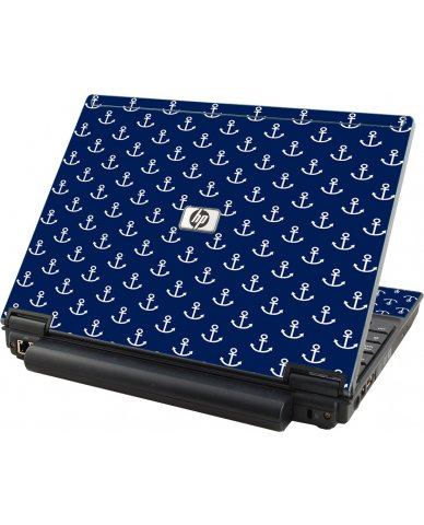 Navy White Anchors HP Compaq 2510P Laptop Skin
