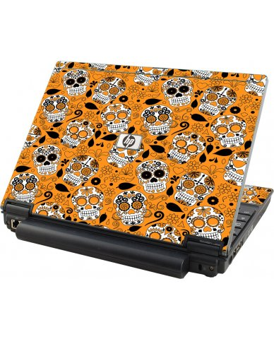 Orange Sugar Skulls HP Compaq 2510P Laptop Skin